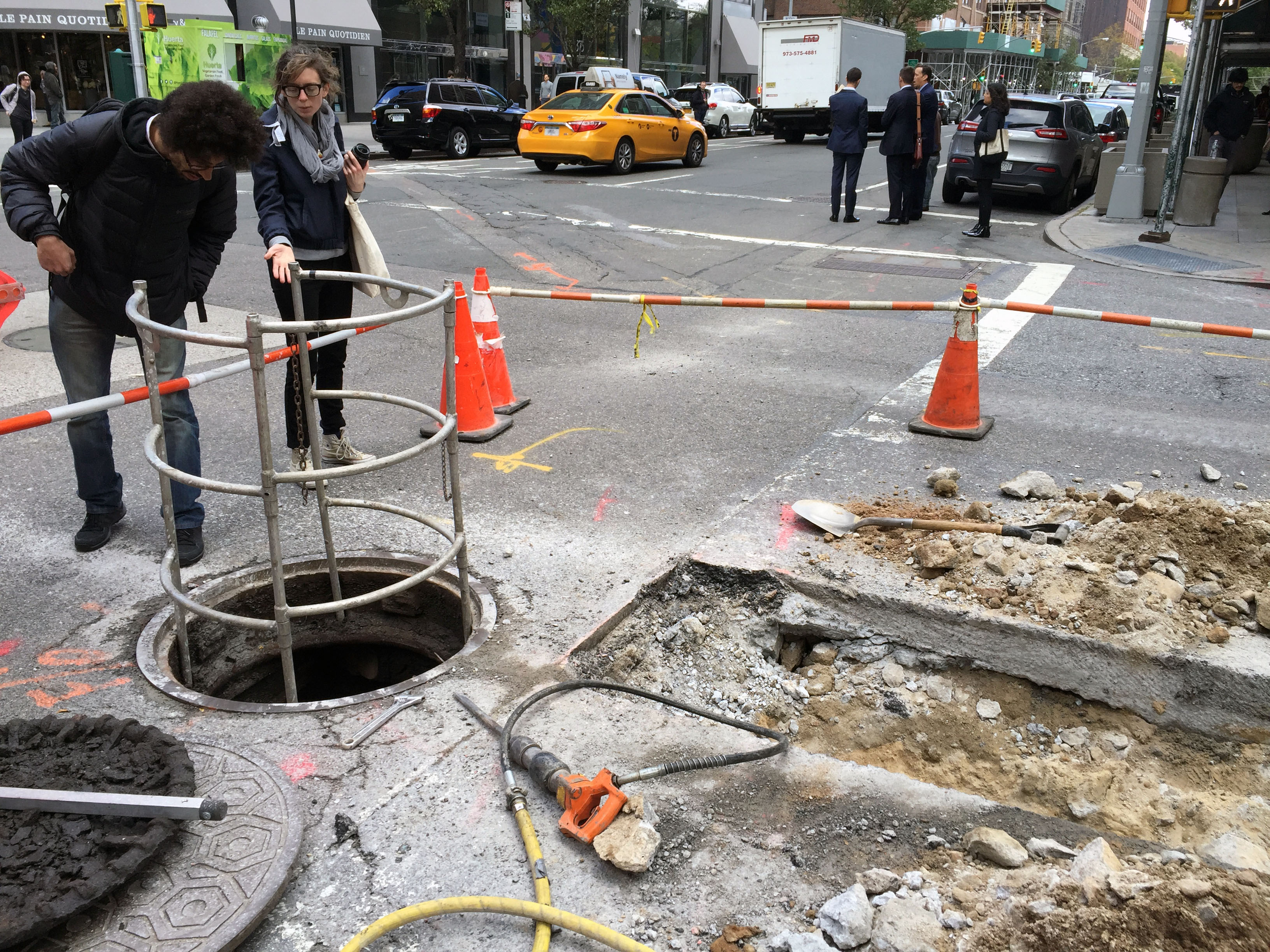 Open manhole with internets exposed